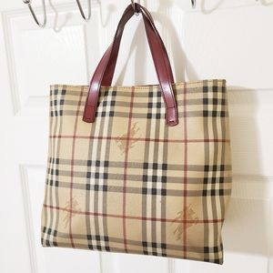 Burberry Vintage Horse Check Tote Bag